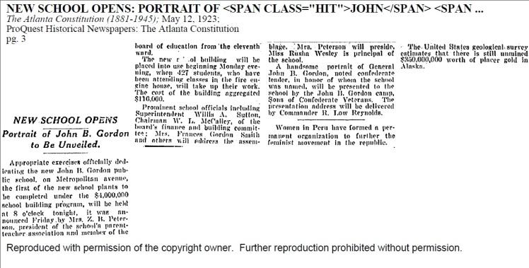 John B. Gordan Elementary Newspaper Clips