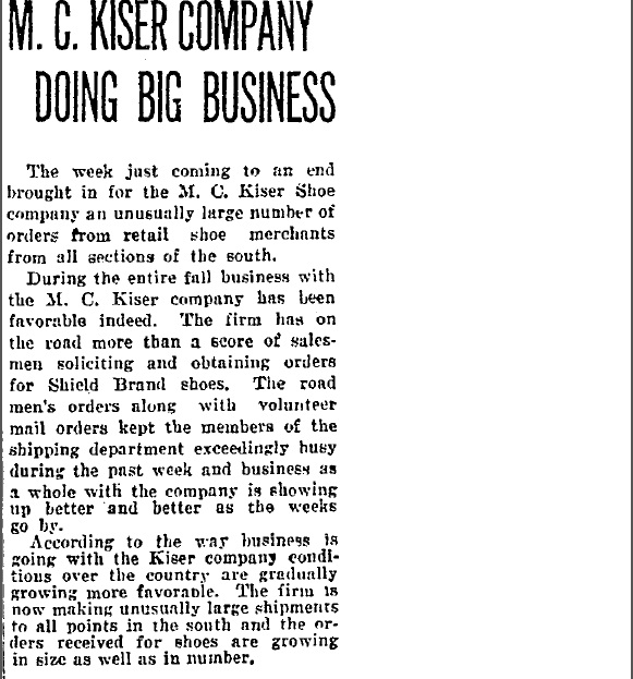 M.C. Kiser Co Doing Big Business Nov 1923