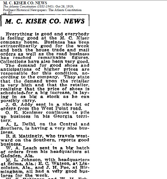 M.C. Kiser Co Sep 1919