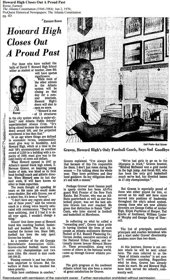 Newspaper Article - End of David T. Howard Highschool