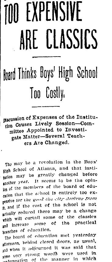 Boys High Too Expensive 1904