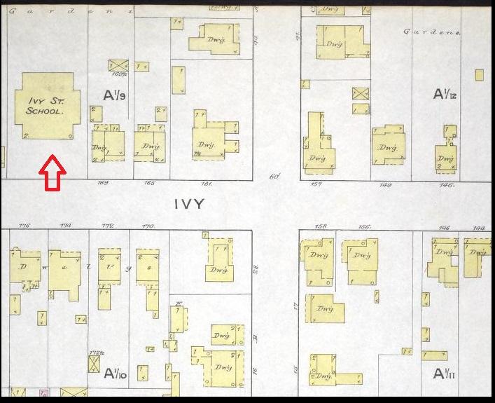 Ivy Street School - 1886 Sanborn Map